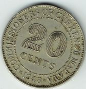 Malaya, George VI, 20 Cents 1948, VF, WB6522